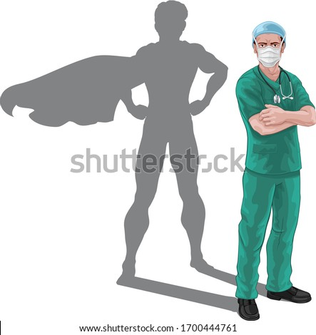 A nurse or doctor super hero in surgical or hospital scrubs uniform with a stethoscope around his neck and surgical mask PPE. Revealed as a superhero pose by the shape of their shadow.