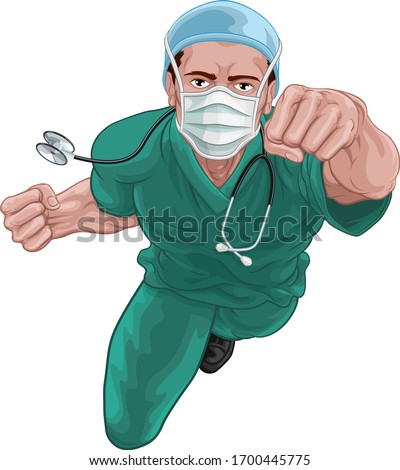 A nurse or doctor super hero in surgical or hospital scrubs uniform with a stethoscope around his neck wearing protective surgical mask PPE. Flying in a classic superhero pose.