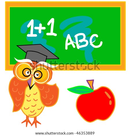 a owl with an apple standing infront of the writing board in the lecture room