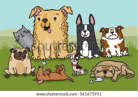 a pack of cartoon dogs with a