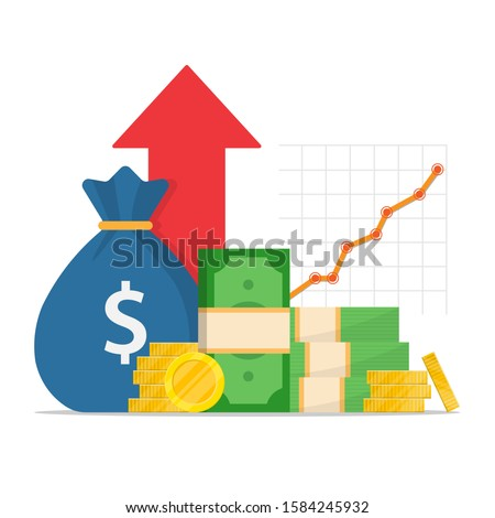a pack of green dollars and a stack of gold coins, a bag of money in the background a red arrow up. increase in mutual funds income, statistical report, business productivity increase.