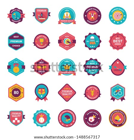 A pack of sports badges vectors displaying alluring imagery and captivating graphics vectors.