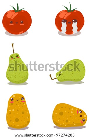 A pack of vector illustrations of tomato pear and potato in happy and sad poses.
