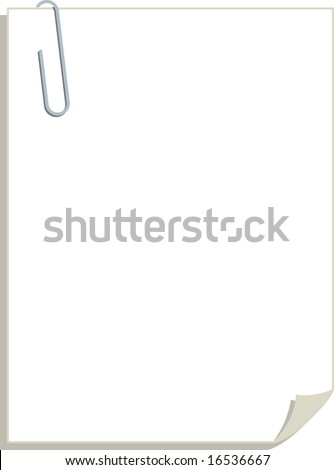 A pad of blank paper with a silver metal paper clip holding all the sheets together.