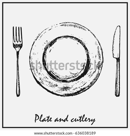 a painted plate with a fork and ...