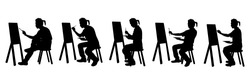 A painter is drawing silhouette vector set