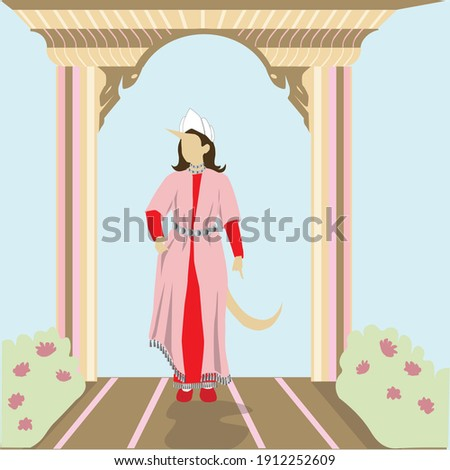 A painting by Vashti, the queen of Persia, the wife of Ahasuerus. Which has grown a horn and a tail. One of the scenes in the story of the Book of Esther that the Jews read on Purim. Flat vector Foto stock ©