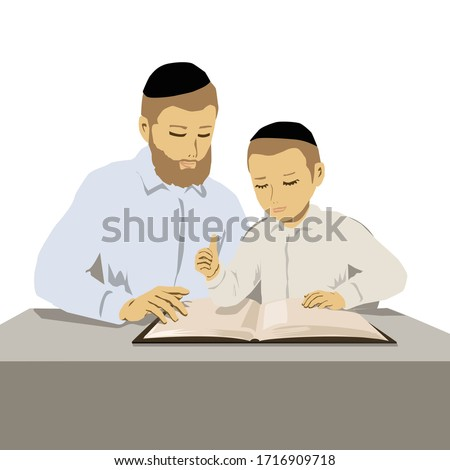 A painting of Orthodox religious father and son studying Torah. Vector illustration of 2 flat figures with buttoned shirts and caps. jewish man and jewish boy Foto stock ©