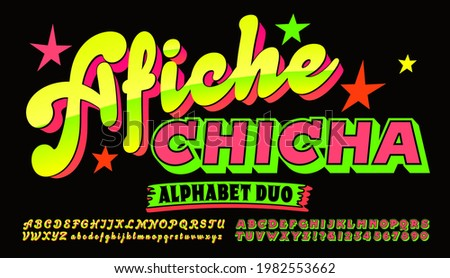 """A pair of alphabets to be used together to create bright and eye-catching Peruvian style poster graphics. Afiche is Spanish for """"poster,"""" Chicha refers to a South American beverage."""