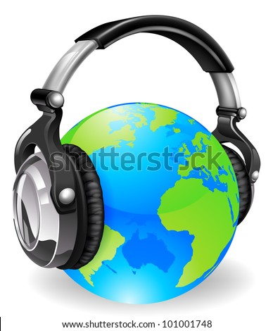 A pair of audio music headphones on a world globe