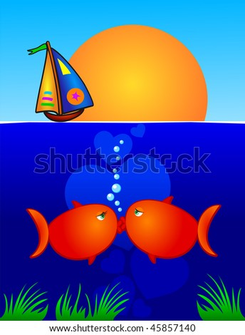 A pair of fish lovers kissing on the seabed. Vector