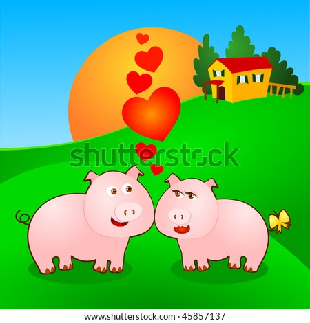 A pair of pigs love the background, the farm at sunset. Vector background