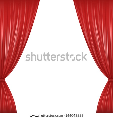 a pair of red drapes on white