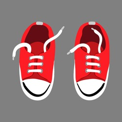 A pair of red textile sneakers with a rubber toe and loose laces. Hand drawn vector illustration in flat cartoon stile. Shoes of modern skaters for training. Isolated object.