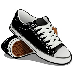 A pair of sneakers with white laces isolated on white background. Classic sports shoes. Vector illustration.
