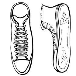 A pair of sports shoes close up. Hand drawn black and white illustration of sneakers, gym shoes isolated on white background. Shoe store. Healthy splattered life. Handwritten graphic technique