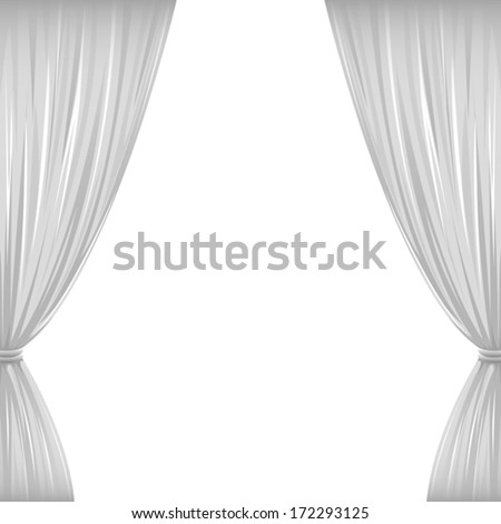 A pair of white drapes on white with copy space. Eps 10 Vector.