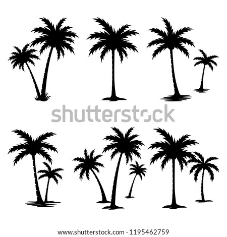 A palm tree silhouette set.