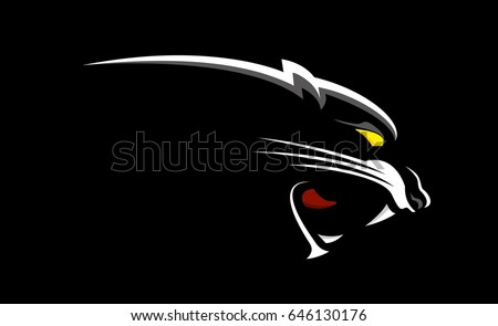 A panther head in black background.