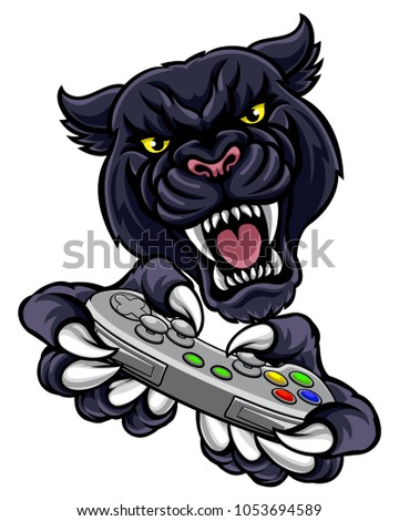 A panther video game player online sports gamer animal mascot holding a controller