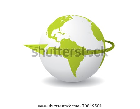 A paper airplane flying around the globe. Editable vector illustration. - stock vector