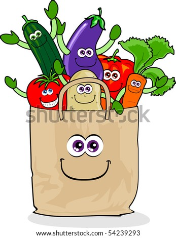 A paper bag full of vegetables purchased, vector