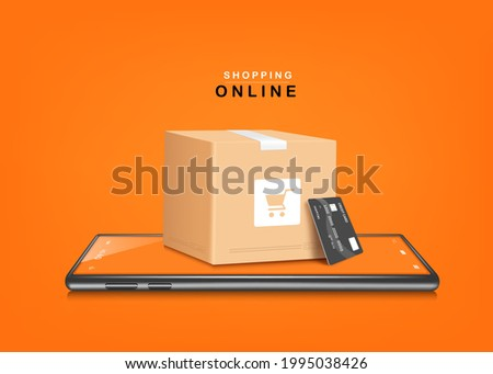 A parcel box with a shopping cart image. and credit cards placed on smartphones and all object on orange background for delivery and shopping online concept,vector 3d for shopping on application