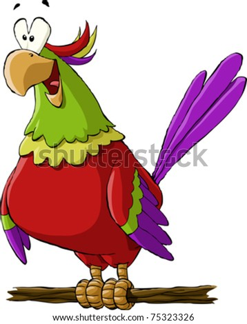 A parrot on white background, vector illustration