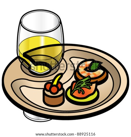 A party plate with a glass of white wine and three for Canape wines