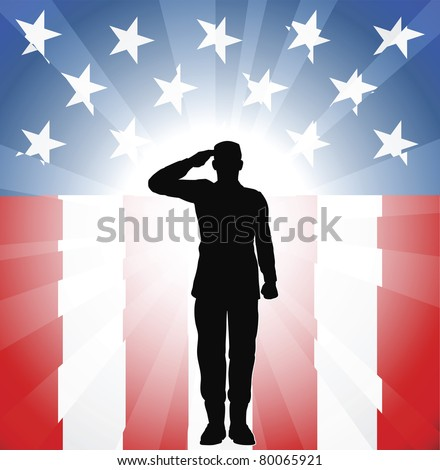 a patriotic soldier saluting in