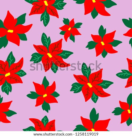 A pattern of poinsettia. Pink background with flowers of poinsettias. Good for packaging, postcards, textiles.Christmas.