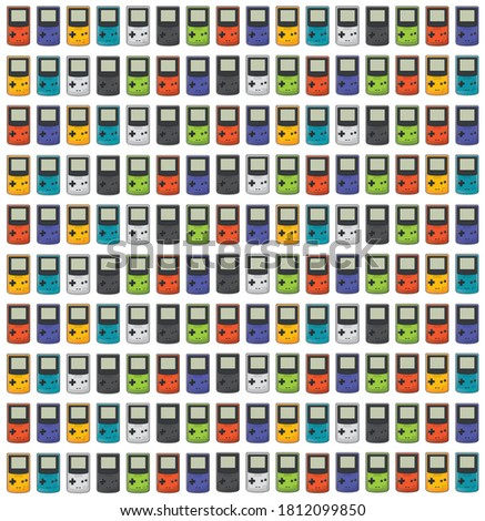 A pattern of some portable videogames in different colors, very colorful. Videogame icon in flat design. Classic 90s. Game Boy color.
