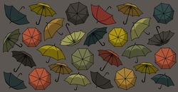 A pattern with different umbrellas of dark and light green, orange, yellow and red colors on gray background