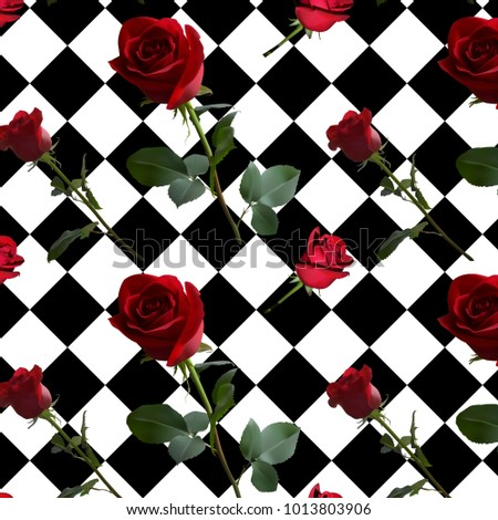 a pattern with red roses with