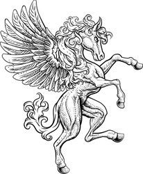 A Pegasus horse with wings from Greek mythology rearing rampant on its hind legs in a coat of arms crest woodcut style