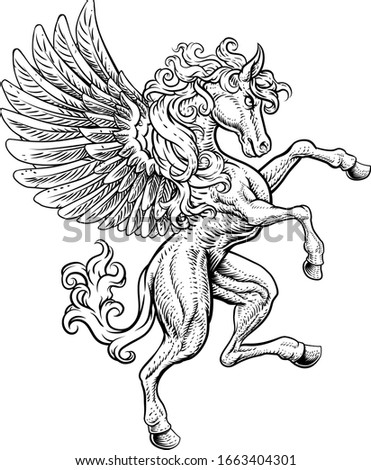 A Pegasus horse with wings from Greek mythology rearing rampant on its hind legs in a coat of arms crest woodcut style  Stockfoto ©