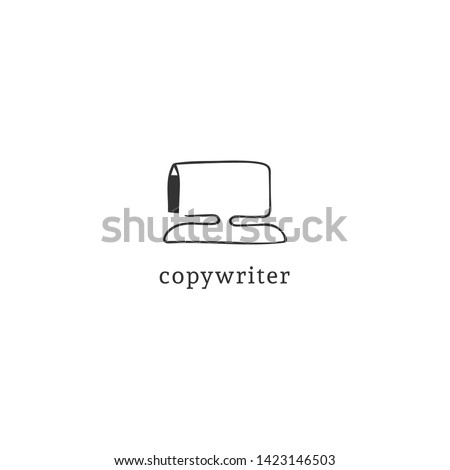 A pen drawing computer, vector hand drawn logo template. Writing, copywrite and publishing theme. For business identity and branding, for online writers, copywriters and publishers, bloggers.