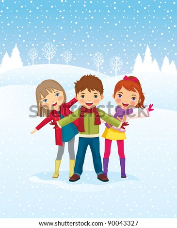 A perfect winter day, children play outdoors./Winter day. Children playing outdoors