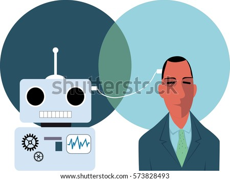 a person connected with a robot