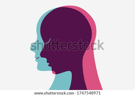 A person hiding its sadness. Feeling two different emotions. Human head flat outline icon.