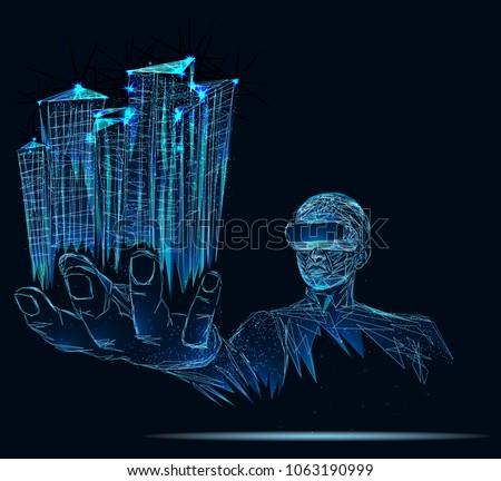 a person in virtual glasses
