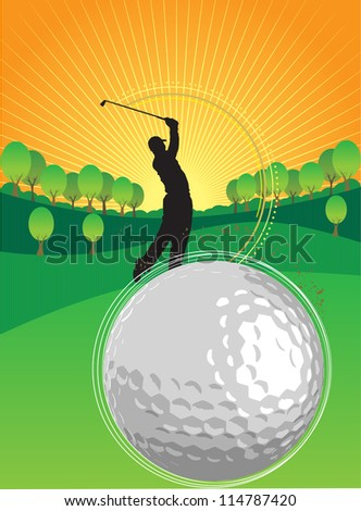 A person is playing golf in the sunset