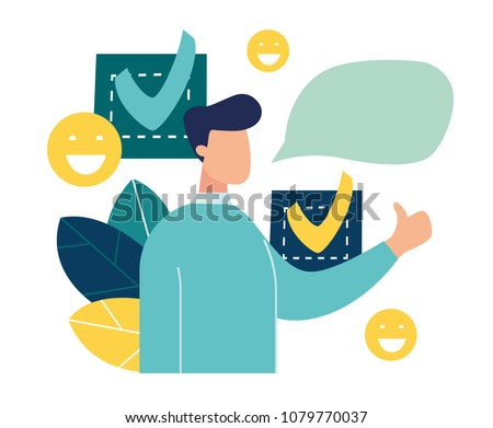 a person leaves a good online review for a product or service. vector illustration design graphics for the site section, reviews, about us, good work contented consumer. character shows a hand gesture