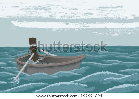 a person navigating a rowboat