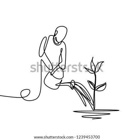 A person pouring water to plant in order to make it growing one line drawing vector isolated on white background