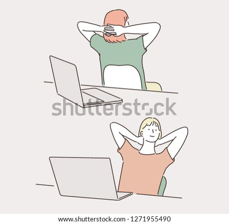 A person resting on chair in office. hand drawn style vector design illustrations.
