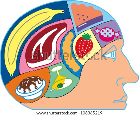 A person's head with various types of food compartments in the brain
