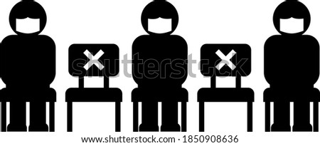 A person wearing a face mask who sits in a chair at intervals. Image illustration of new normal.