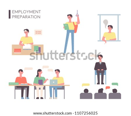 A person who is preparing for employment. flat design style vector graphic illustration set