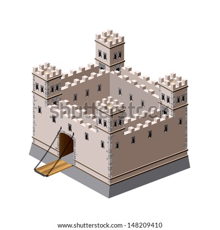 A perspective view of a medieval fortress on a white background
